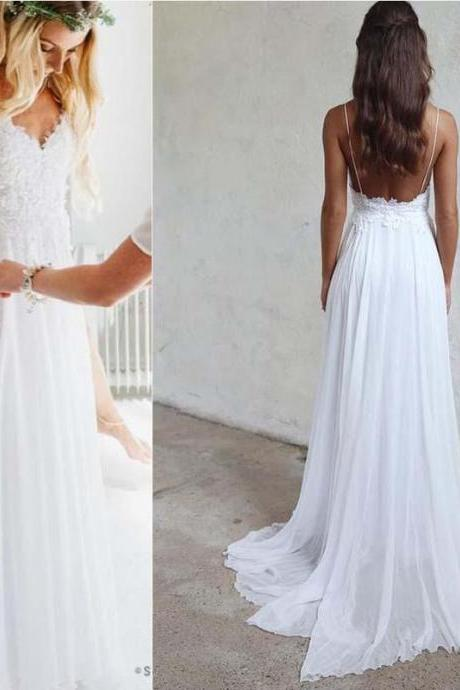 Spaghetti White Lace evening dress ,Chiffon Wedding Dresses, Affordable Floor Length Wedding Dresses, Long Wedding Dresses , Customize Made