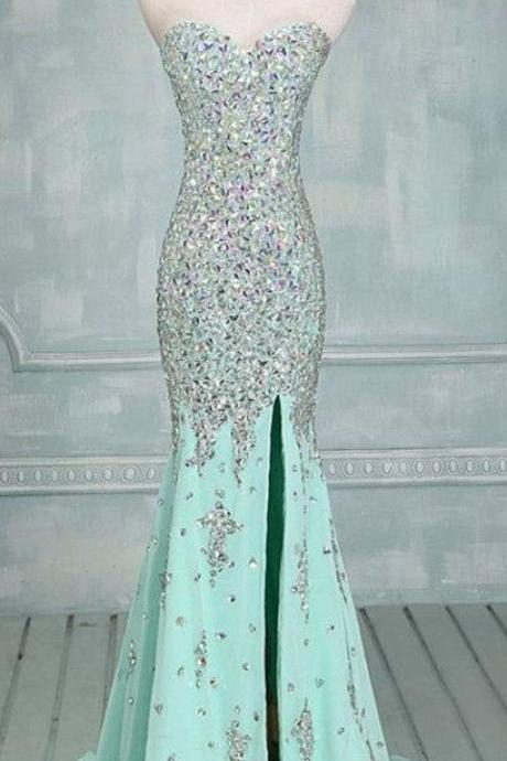 Luxurious ,Mermaid ,Sweetheart ,Sweep Train, High slit, Sleeveless, Long Prom Dress with Beaded ,Customize Made ,2018 new fashion ,Prom Dress