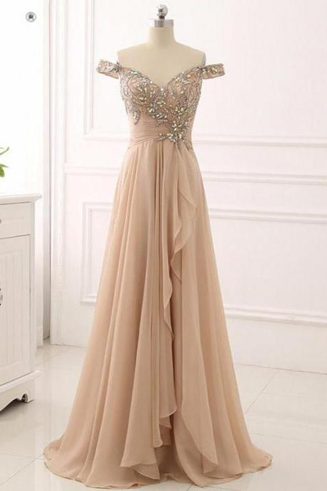 Off Shoulder party dress,Delicate Beading, Long Custom ,Evening Prom Dresses, , Customize Made