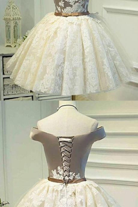 Ivory Homecoming Dresses, Short Homecoming Dresses, Cute Homecoming Dress, Off-the-shoulder ,Lace, Ivory Short Prom Dress ,Party Dress , Customize Made