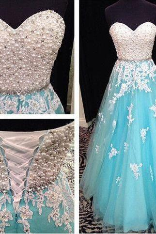 blue prom dresses, sweet heart prom dress, lace up prom dress, lace dress, evening dress, rhinestone prom gowns , Customize Made ,2018 new fashion ,Prom Dress