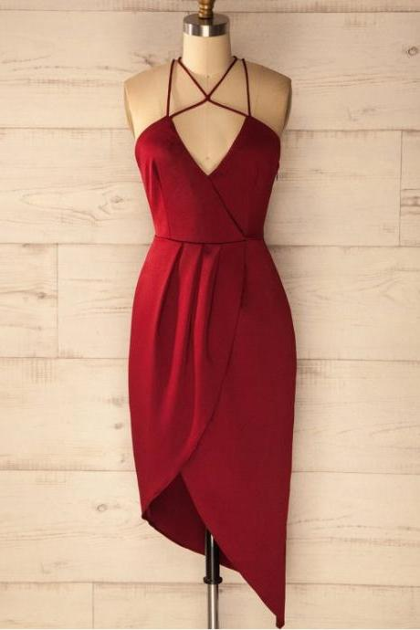 Sheath Prom Dresses, Burgundy Party Dresses, Short Prom Dresses With Pleated Sleeveless V-Neck , Customize Made