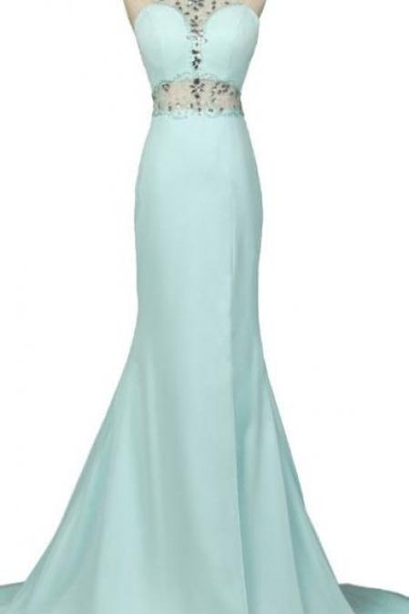 Customized Dazzling Sleeveless Prom Dresses, Light Sky Blue Sleeveless Prom Dresses, Long Prom Dresses, Mint Halter Open Back, Long Mermaid ,Charming Elegant Chiffon Prom Dresses ,beading applique Charming Long Prom Dresses, Customize Made