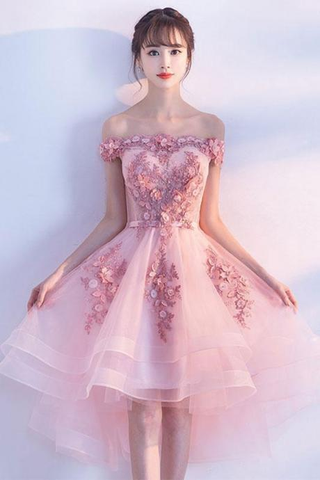 CUTE PINK TULLE, LACE SHORT PROM DRESS, CUTE HOMECOMING DRESS, HOMECOMING ,CUSTOM MADE