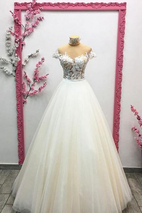 UNIQUE TULLE LACE ,LONG PROM DRESS, HIGH NECK, LACE APPLIQUE , EVENING DRESS, WEDDING DRESS,CUSTOM MADE