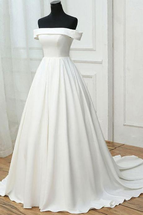 SIMPLE WHITE SATIN, LONG PROM DRESS, WHITE EVENING DRESS, WEDDING DRESS,CUSTOM MADE