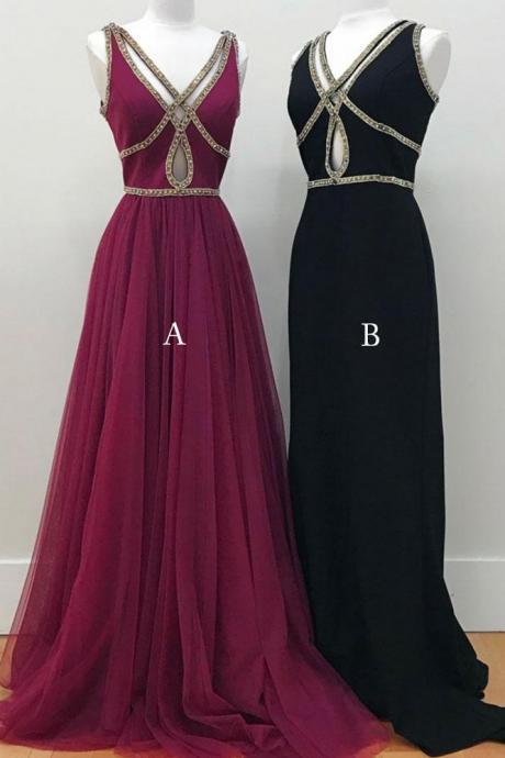 SIMPLE V NECK, LONG PROM DRESS, DROP SHAPED ,SEXY LONG EVENING DRESS, HOMECOMING ,CUSTOM MADE