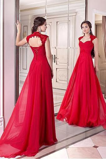 Elegant Chiffon , Full-length, A-line Evening Dresses, A-line,Floor-length Prom Dresses,Floor Length ,Sexy Evening Dress,Custom Made ,New Fashion