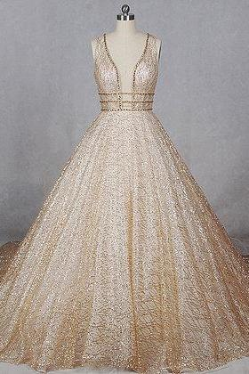 Gold tulle ,V neck, long train, sequins evening dress, formal wedding dresses, Sexy Evening Dress,Custom Made ,New Fashion