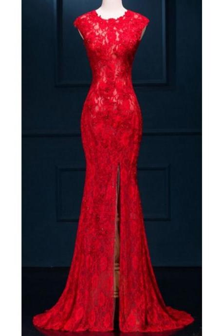 Red Prom Dresses, Long Prom Dresses,Mermaid Prom Gown,Mermaid Side Slit ,Lace Party Dress,Sexy Custom Made ,New Fashion