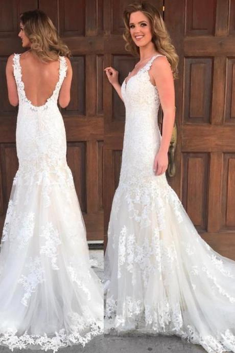 Elegant White Wedding Dress,Mermaid Wedding Dress,Wedding Dress Backless,Lace Wedding Dress,Wedding Dress for Women,Wedding Dress Plus Size,Bridal Dress Mermaid,Bridal Dress ,Sexy Custom Made ,New Fashion