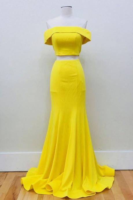 Yellow satin, off shoulder, two piece ,long simple mermaid prom dress ,Sexy Custom Made ,New Fashion