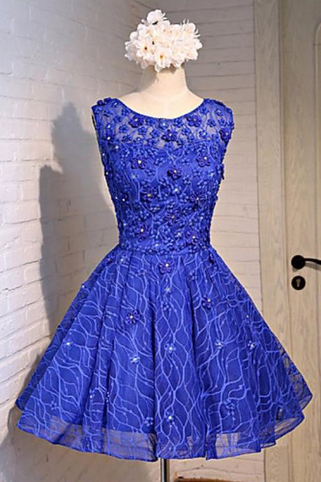 Royal blue, lace scoop neck ,short prom dress, flower lace party dress,Sexy Custom Made ,New Fashion