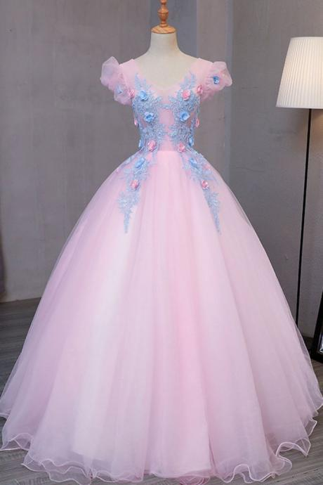 Special pink tulle, V neck long prom gown with blue flower, lace appliqués, puff sleeves, winter formal prom dress, party dress,Sexy Custom Made ,New Fashion