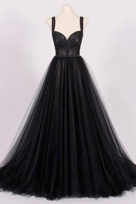 Unique black tulle, sweetheart A-line ,handmade long evening dress, long lace top party dress,Sexy Custom Made ,New Fashion