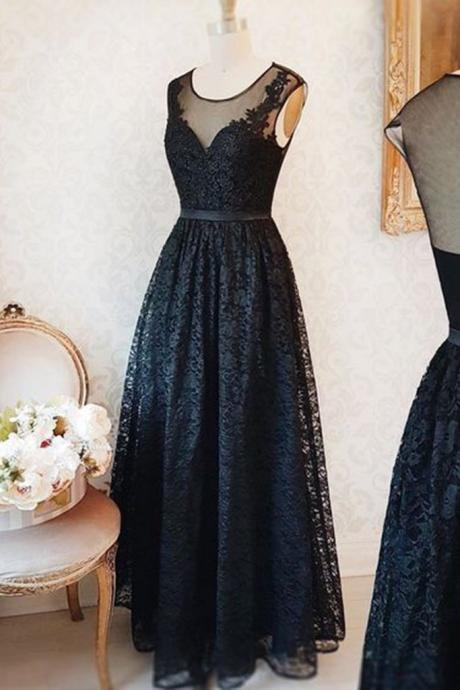 Elegant black lace, scoop neck, long customize, halter evening dress,Sexy Custom Made ,New Fashion
