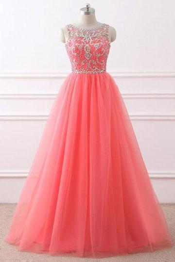 Coral tulle, scoop neck, long halter, open back, sweet prom dress with silver beadings,Sexy Custom Made ,New Fashion