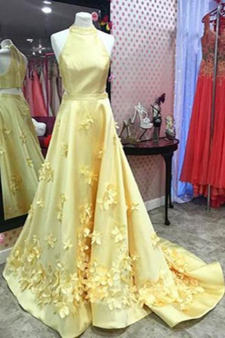 Spring yellow satin ,long A-line ,3D appliqués evening dresses, long formal prom dress ,Sexy Custom Made ,New Fashion