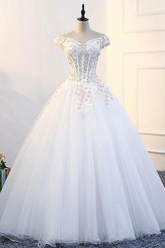 White tulle, off shoulder, V neck ,strapless long ,formal prom dress with appliques, long lace wedding dress with cap sleeves,Sexy Custom Made ,New Fashion