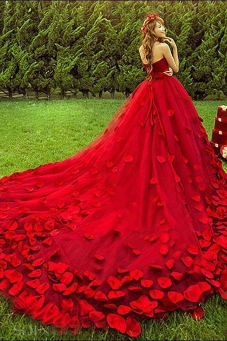Prom Party Pageant Cocktail Ball Gown Red Petals Train Bra Slim Wedding Dress, Long Party Dresses ,Custom Made ,New Fashion
