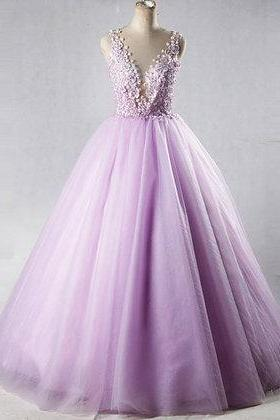 Lilac tulle, V neck long halter, 3D lace appliqués prom dress, quinceanera dress, Long Evening Prom Dresses, Prom Dresses,New Fashion,Custom Made