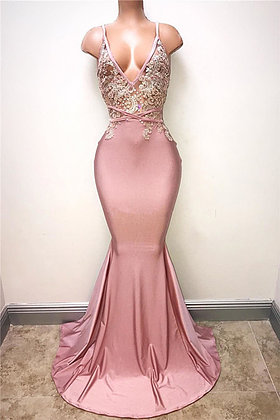 Pink spaghetti straps,backless,sexy long ,mermaid evening dresses, Prom Dresses 2018,new fashion,custom made