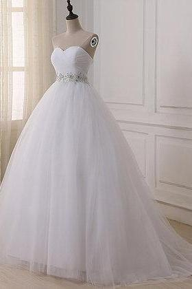 New white tulle ,sweetheart long ,simple formal dress, beaded wedding dress, Prom Dresses custom made