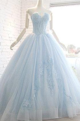 Princess sweetheart neck, long prom gown with beads,unique tulle long prom dress, strapless ,long applique senior prom dress ,floor length prom gown, Prom Dresses