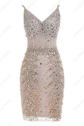 Spaghetti Straps Neckline, Short Sheath/Column Cocktail Dress With Beadings & Rhinestones,Formal Wear , Prom Dresses 2018,New Fashion,Custom Made