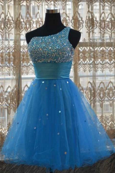 Homecoming Dresses, Blue Sleeveless, Hollow Beaded, Above Knee ,One Sleeve Aline, Beaded ,Formal Wear , Prom Dresses 2018,New Fashion,Custom Made