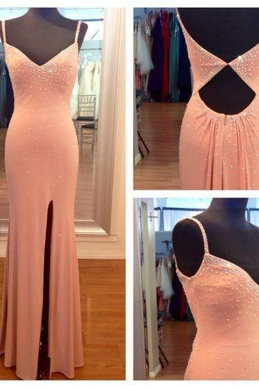 Charming Prom Dress ,spaghetti straps , sexy side slit , backless Evening Dress,beaded Long Party Dress ,floor length Evening Dresses, New Fashion,Custom Made