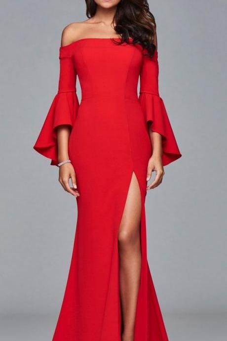 Unique Off the Shoulder Evening Dress,high side slit sexy,long mermaid Prom Dress,Cheap Long Prom Dress,floor length Evening Dresses, New Fashion,Custom Made