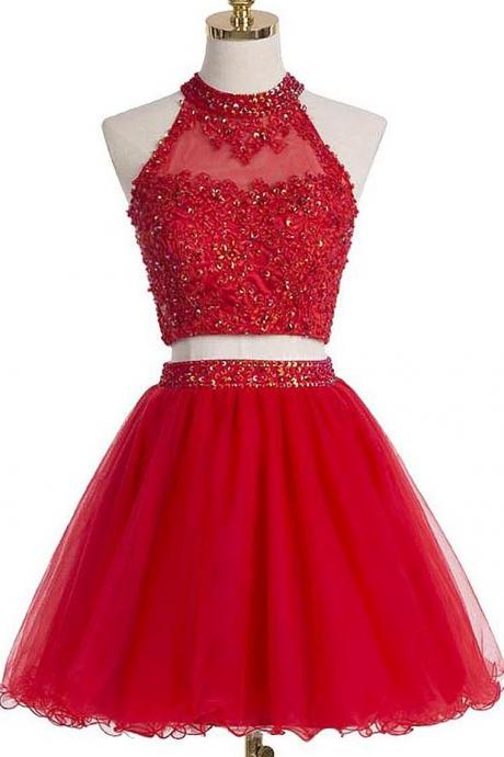 Red Two-Piece Homecoming Dress Featuring Beaded Embellished High Halter Crop Top with Keyhole Back and Short Tulle A-Line Skirt,A-line Homecoming Dress ,Beautiful Red Short Tulle Lace Applique Party Dress, Red Short Teen Formal Dress, Red Party Dress,Short Party Dress Cocktail Dresses,Short Evening Dresses, New Fashion,Custom Made