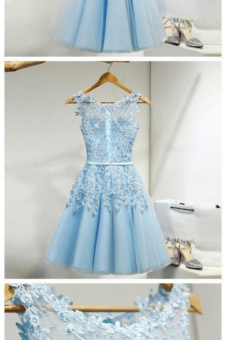 Beautiful Simple Light Blue, Short Knee Length Homecoming Dresses, Blue Homecoming Dress, Blue Party Dress, Lace Party Dress,Short Party Dress Cocktail Dresses,Short Evening Dresses, New Fashion,Custom Made