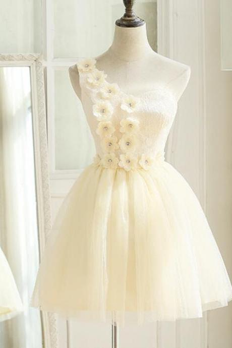 Cute Ivory Tulle, One Shoulder ,Party Dress with Flowers, Cute Formal Dress, Teen Girls Dresses,Short Evening Dresses, New Fashion,Custom Made