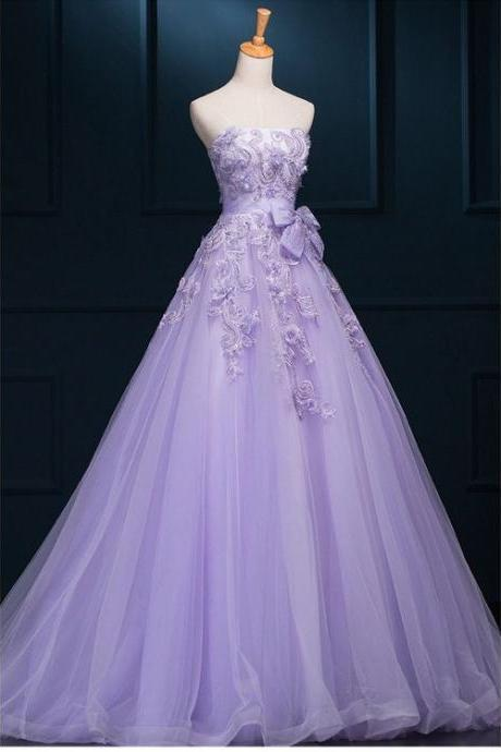 Outlet Purple Wedding Dresses, Long Wedding Dresses, Long Purple Wedding Dresses With Lace Floor-length Strapless Sale Online , Formal Evening Gown, New Fashion,Custom Made
