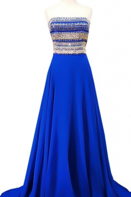 blue chiffon prom dress, crystal-studded, crystal-studded gown floor length dress,sweetheart neckline, elegant chiffon dress ,two pieces long ,backless sexy evening dress,sleeveless,sexy evening dress