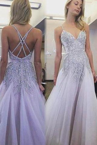 Sexy Prom Dresses, Spaghetti Straps, A Line Floor-length, Lavender Long Prom Dress ,criss cross back,new fashion