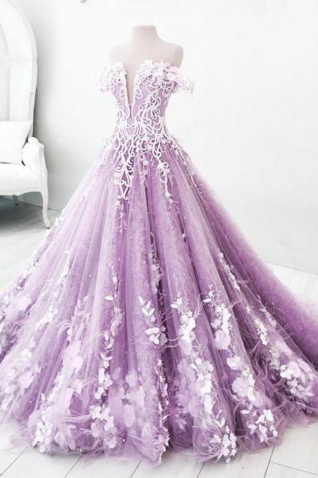 Ball Gown, Off-the-Shoulder, Lilac Tulle Appliques Prom Dress,Floor Length Ball Gown Evening Dress,Tulle Party Dress,Long Formal Dresses.2018 new fashion,custom made