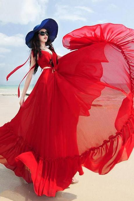 2018 red summer chiffon maxi dress ,sleeveless summer dress ,ruffles floor length dress,2018 New Fashion,Custom Made