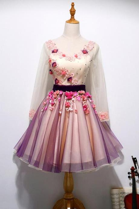 Long Sleeve, Hand Made Flower, Cute Homecoming Prom Dresses, Affordable Short Party Prom Dresses, Perfect Homecoming Dresses