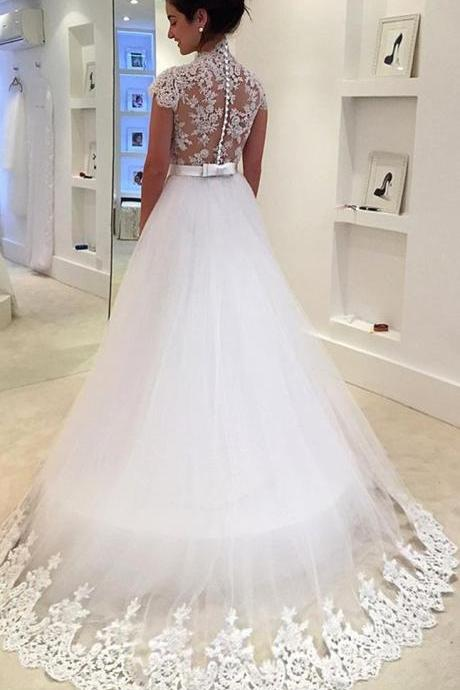 Cap Sleeves, Lace Tulle White Prom Dress, Gorgeous Wedding Gown,Long Evening Prom Gowns, New Fashion,Custom Made