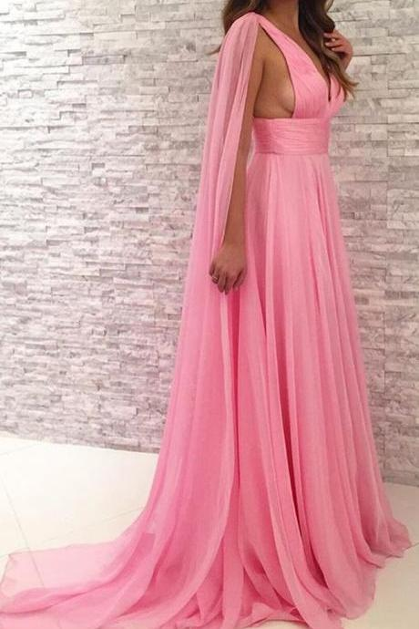 Deep V Neck ,Chiffon Long Bridesmaid Dress ,Simple Prom Gown ,New Fashion,Custom Made