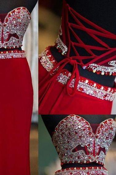Two Piece Prom Dresses ,Sweetheart Sheath Column, Floor-length, Long Red Satin Prom Dress ,New Fashion,Custom Made
