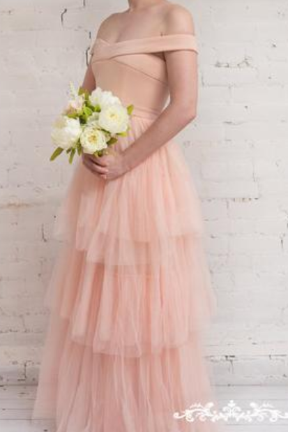 Lovely Tulle Prom Dresses ,Sweetheart Off Shoulder Party Dresses,Floor Length Formal Dresses,Sleeveless Evening Dress,New Fashion,Custom Made