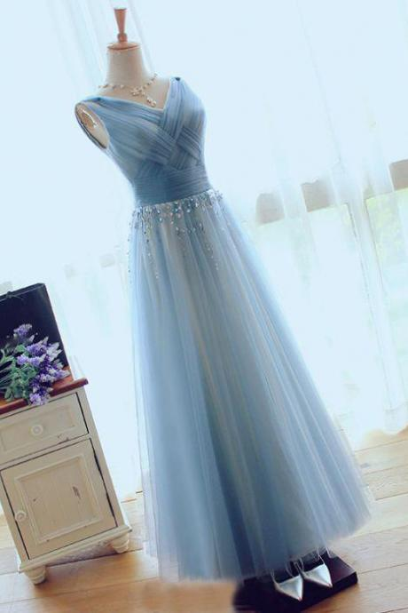 A-line Dusty Blue, V-neck Bling Sleeveless, Tulle Bridesmaid Dress with Crystals,Long Prom Dresses, Long Evening Dress, Elegant Formal Dress