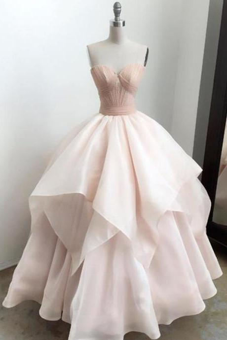 Ball Gown Prom Dress ,Pink Cheap Long Prom Dress, Sweetheart Neckline ,Long Evening Dress, Elegant Formal Dress