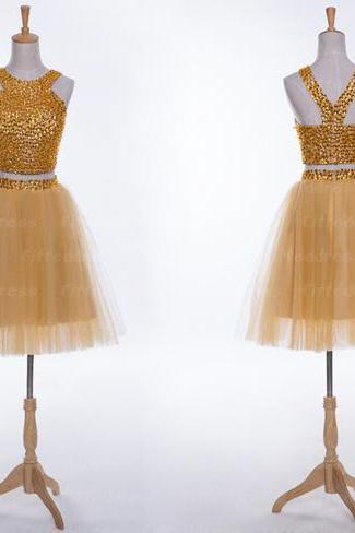 2 pieces homecoming dresses, gold homecoming dresses, lace homecoming dresses, juniors homecoming dresses, Elegant Formal Dress ,New Fashion ,Custom Made, Short prom dresses, Elegant Formal Dress