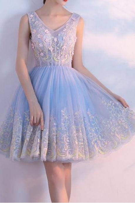 Short A-line/Princess Homecoming Dresses, Light Blue Sleeveless With Applique ,Mini Homecoming Dresses , Short prom dresses, Elegant Formal Dress