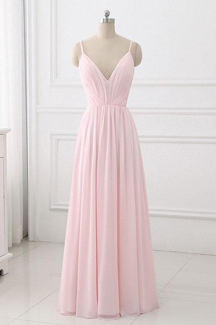 Simple Pink A-Line ,Spaghetti Straps, Long Prom Dress,Long Evening Dress, Elegant Formal Dress